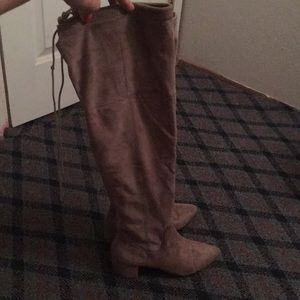 Shoes - Knee high velvet material boots